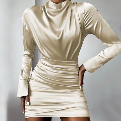 Women's long sleeve apricot slim sexy bodycon dress