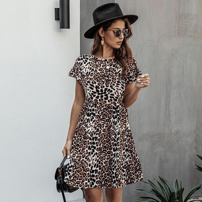 Summer Casual Cotton Loose Print Dress Women Fashion O Neck Short Sleeve Dress 2020 New