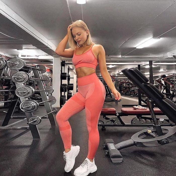 2020 Women's Seamless Yoga Set Sportswear Fitness Bra Sports Suits GYM High Waist Running Leggings Workout Pants Quick-drying