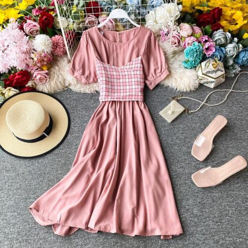 JOYMANMALL Fashion Vintage Women A-Line Sundress Plaid Patchwork Dress Summer French Romantic Party Fake Two-piece Midi Long Dress