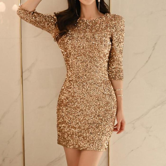 Sexy Sequined Slim Evening Dress