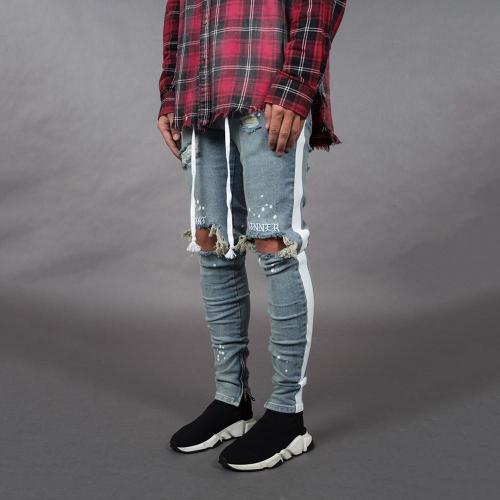 Men's Fashion Hole Jeans Stretch Slim-Fit Pants