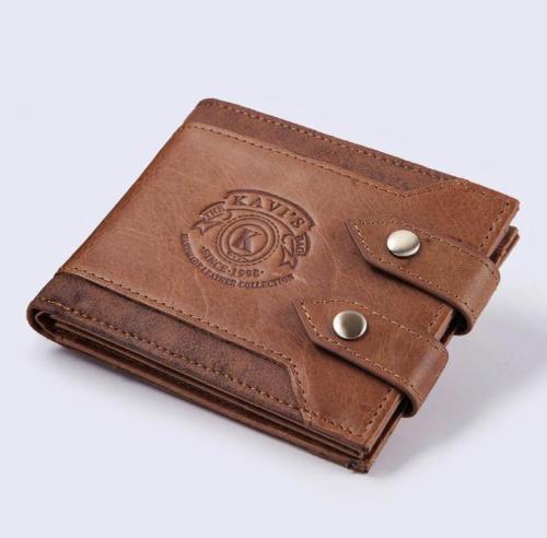 Multi-function double buckle leather men's wallet