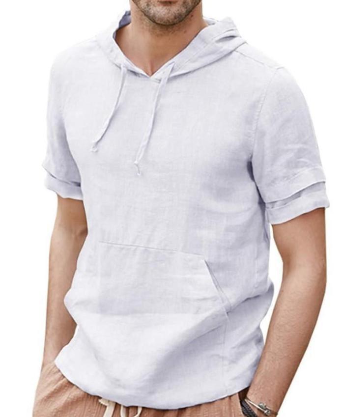 Cheap Mens High Quality Casual  Curved Hem hooded T Shirt