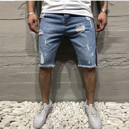 Slim Hole Men's Jeans Pants Shorts Ribbon
