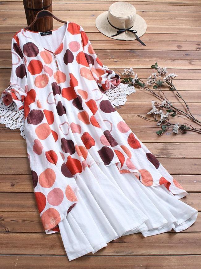 Vintage Polka Dot Patchwork Pocket V-neck Plus Size Maxi Dress