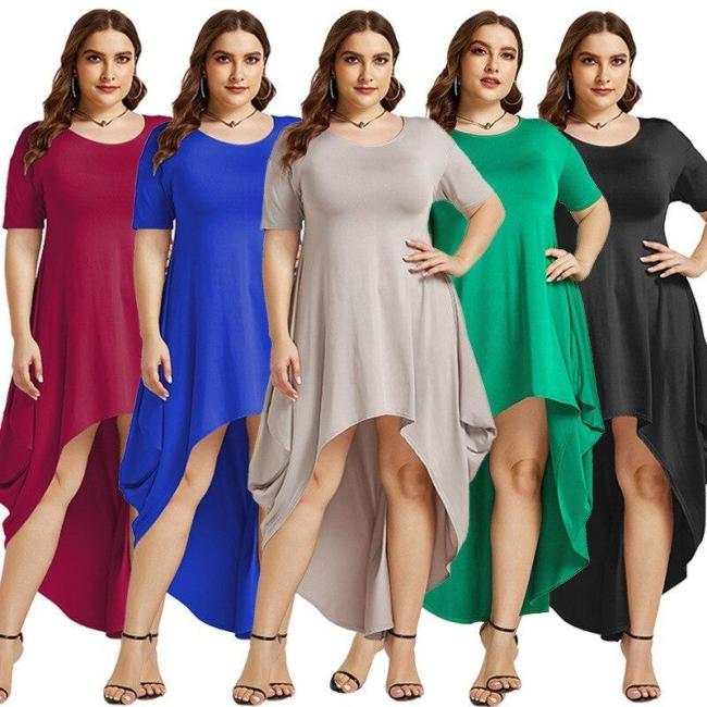 Women Dress Summer O Neck Short Sleeve Irregular Party Maxi Long Dresses Female Casual Loose Plus Size Vestidos Boho Beach Dress