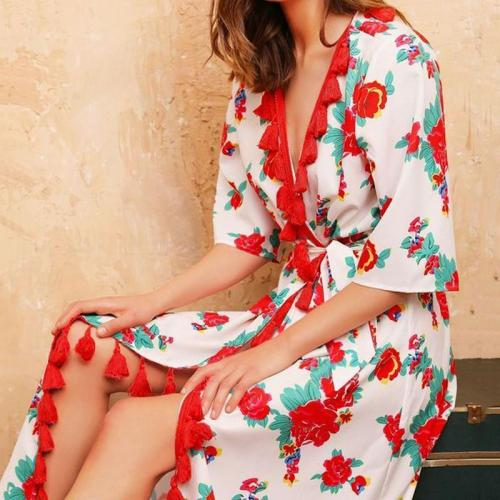 Casual V Neck Halflong Sleeve Printed Colour Dress