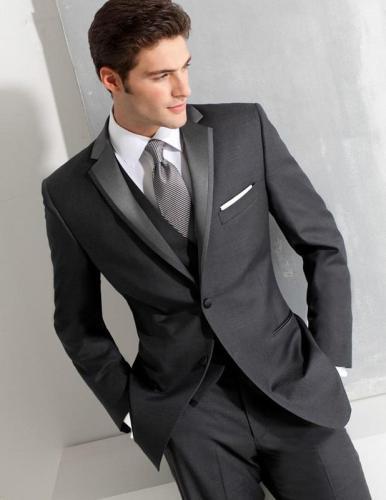 2017New Charcoal Slim Fit Mens Suits Custom Made Wedding Tuxedos Costume Homme Men Suit New Tuxedo (Jacket+Pants+Vest)