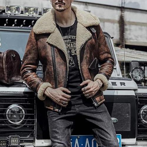 Men's Lapel Solid Color Zip Jacket