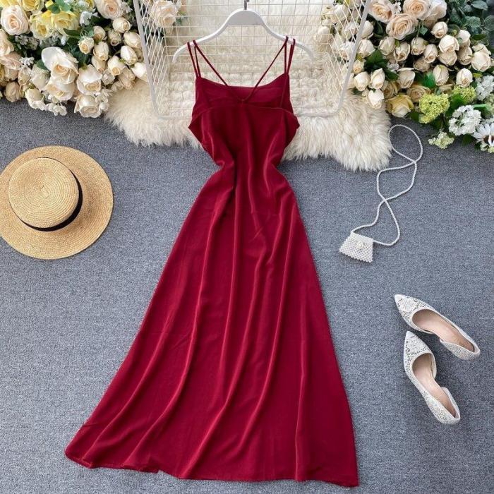 JOYMANMALL 2020 Vestidos Solid Sexy High Waist Chic Summer Dress Women A-line V Neck Backless Beach Style Dresses Chic 15784