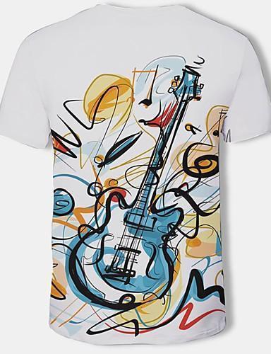 Men 3D Graphic Print Round Neck Plus Size  White Cotton T shirt