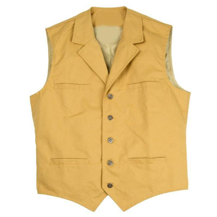 Casual outdoor retro solid color men's vest