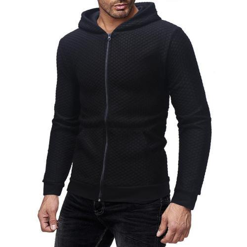 Fashion Plain Check Printed Slim Zipper Coat