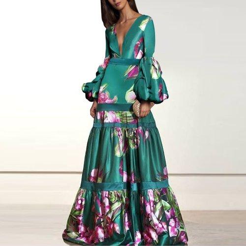 Sexy Deep V Collar Floral Printed Fishtail Maxi Dress