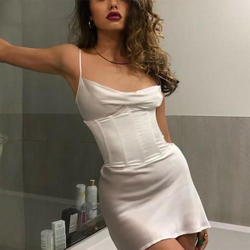 White Silk Satin Girdle Women Backless Bud Party Bodycon Dress Skinny Spaghetti StrapSummer Beach Mini Dresses robe clothes size