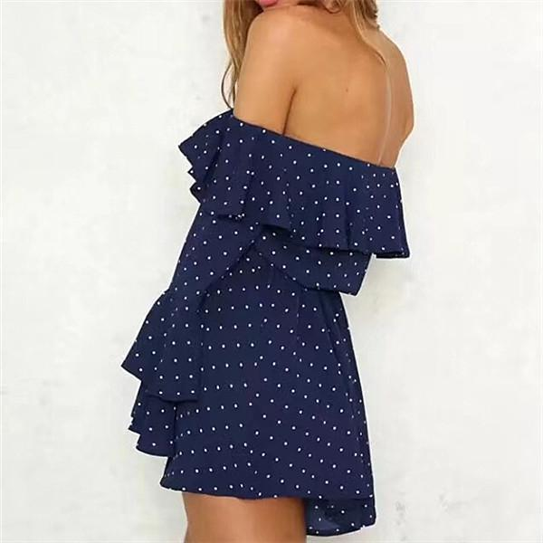 Sexy One Shoulder Wave Point Print Dress