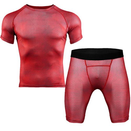 GRRCEECmen's sports coat set sport shirt men running shorts 2pcs gym suit for soccer fitness men sportswear t-shirts sets