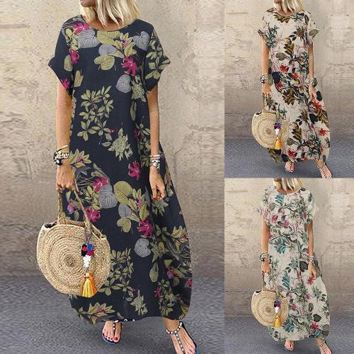 Plus Size 5XL Maxi Dress Woman's Dress Vintage O Neck Floral Short Sleeve Casual Beach Long Dress Woman Vestido Female Robe2020