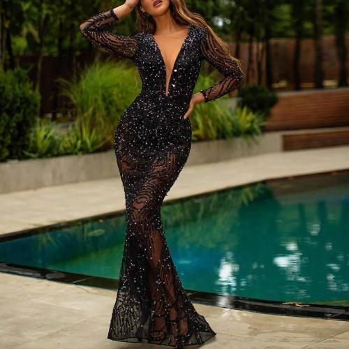 Fashion Sexy Hot Drilling Long Sleeve V-neck Black Evening Dress