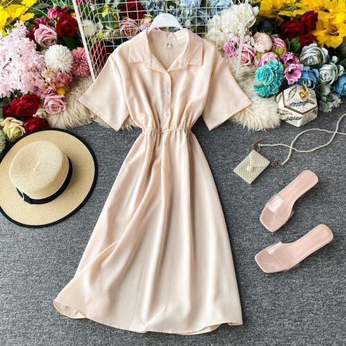 JOYMANMALL Women Summer Elegant Blouse Dress 2020 New Elastic Waist Short Sleeve A-line Dress French Elegant Streetwear Midi Dress