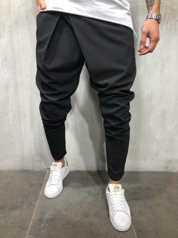 Casual Plain Slim Elastic Waist Pencil Pants