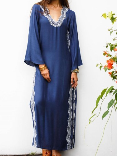 Women Shift V Neck Patchwork Holiday Maxi Dresses