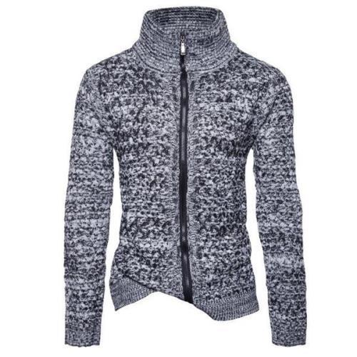 Fashion Casual Slim Color Block Zipper Long Sleeve Men Outerwear