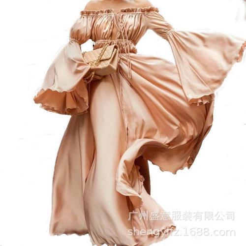 Retro Solid Long Dress Off The Shoulder Slash Neck Sexy Dress Lotus Leaf Flare Sleeve Plus Size Dress XXL Maxi Dresses