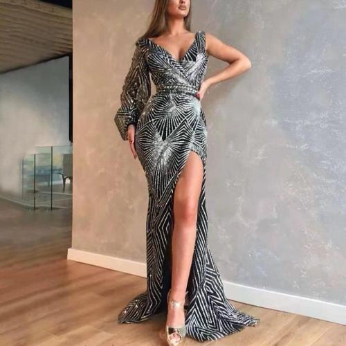 Fashion V-collar high-fork irregular evening dress