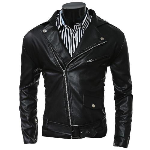 Turn-Collar PU-Leather Belt Embellished Epaulet Long Sleeve Jacket For Men 3834