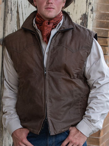 Fashion Turndown Collar Metal Zipper Sleeveless Pure Color Vest
