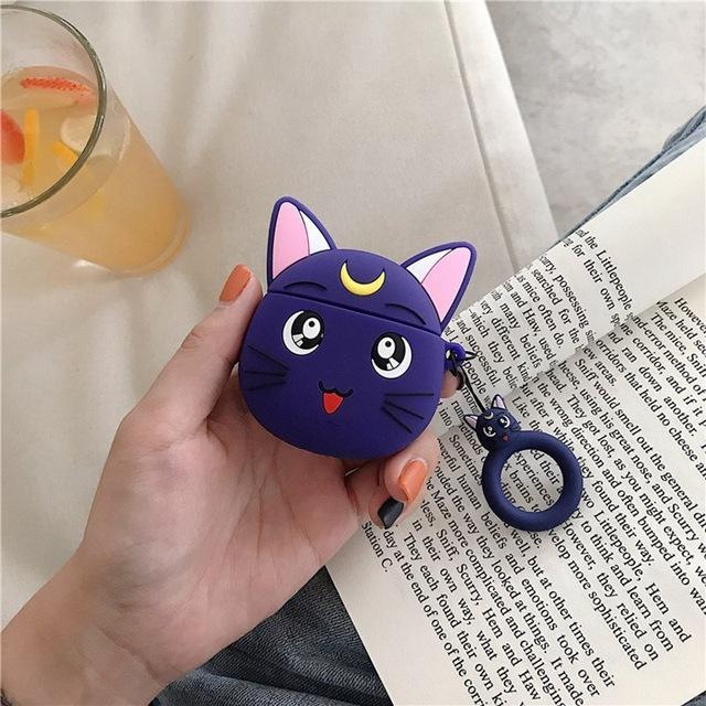Kawaii Sailor Moon Luna Cat Silicone AirPods Case Shock Proof Cover