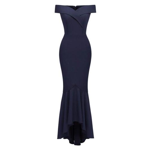 The high quality One word collar evening dress sexy evening dresses long Elegant Back Evening Party Prom Gown robe de soiree