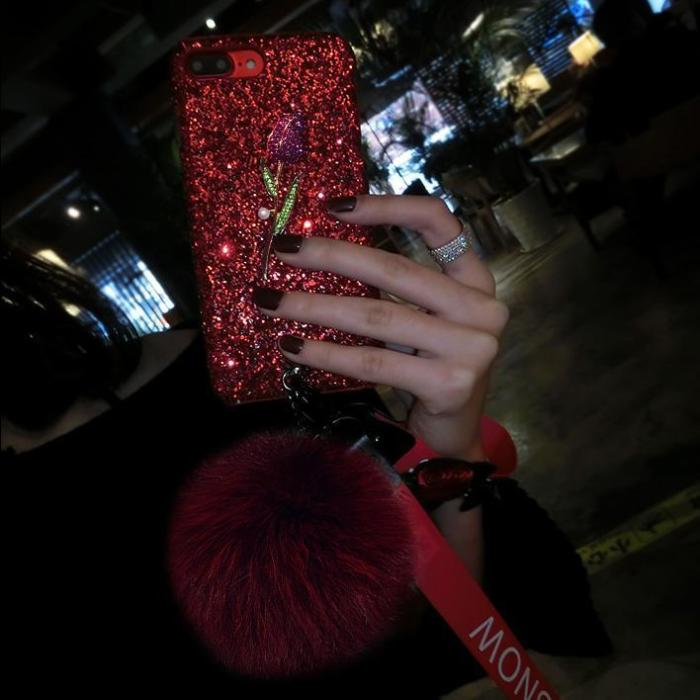 Fashion Rose Ball Bling Case With Two Flower Straps For Iphone