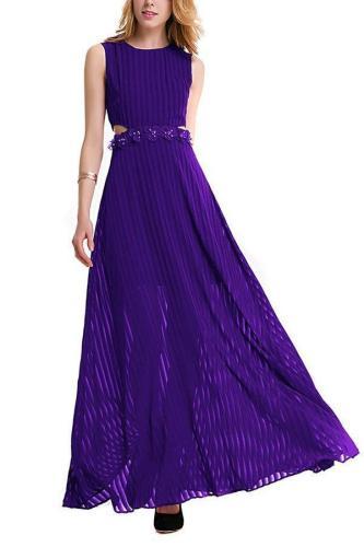 Lace Trim Chiffon Evening Dress