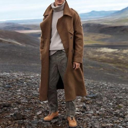 Winter Coat Men Long Trench Casual Brown Warm Wool Coat Streetwear Trench Jacket Outerwear Blends Coat 2020