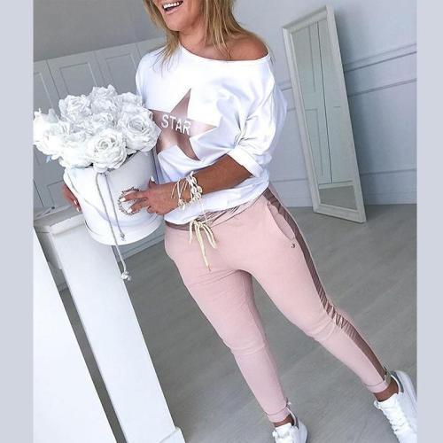 Hot Summer 2Pcs Women's Ladies Running Sets Tracksuit Sportswear Pants Sets Sport Wear Casual Suit Women Sports Suit
