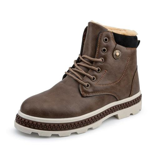 Men Boots 2019 Classical Style Autumn Winter Shoes with Fur Comfortable Lace-up Men's Ankle Boots Thick Bottom Boots Men