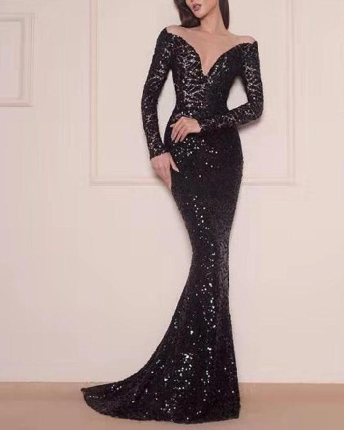 Sexy Sequined Fishtail Long-sleeved Evening Dress