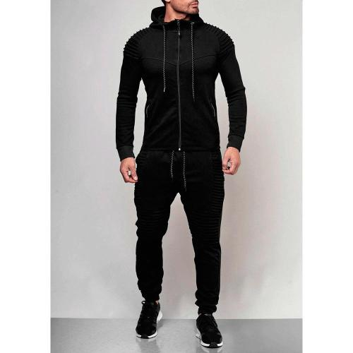 Mens Track Suit Set New Men's Outdoor Sports Casual Hoodie Monochromatic Cardigan Jacket Suit
