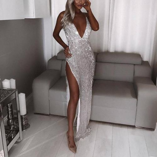 New Deep V-neck Silver White Open Back Evening Dress