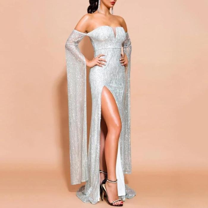 Sexy Word Shoulder Evening Dress