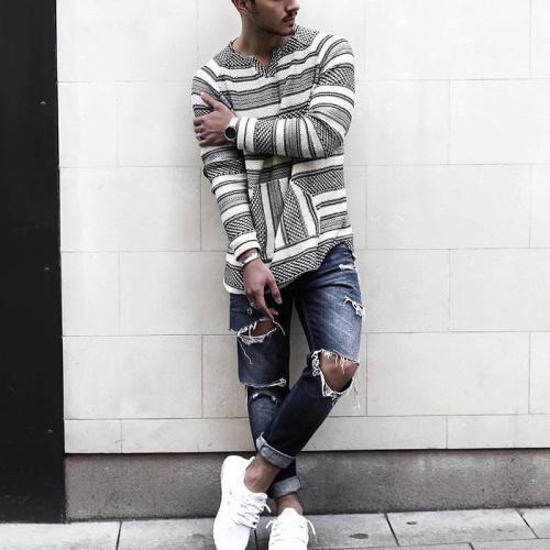 Men's simple casual V-Neck long sleeve stripe T-shirt