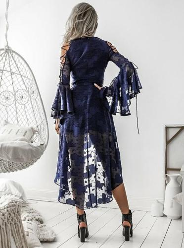 Sexy V-Neck Lace Flare Sleeves Strap Dress