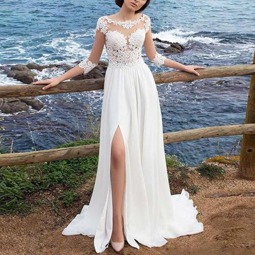 Europe And America Style Round Neck Halflong Sleeve Pure Colour Lace Dress