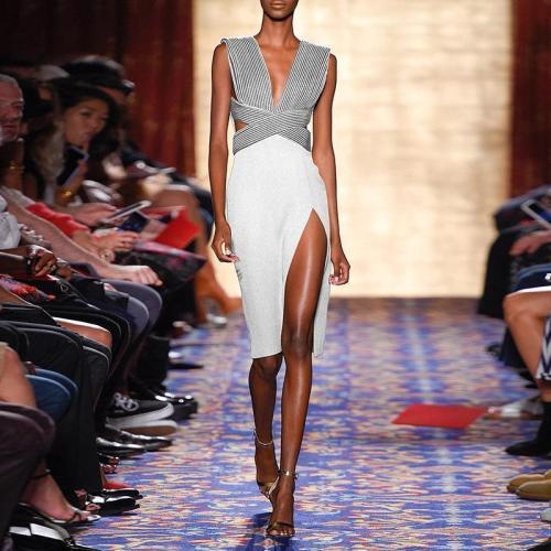 Sexy Deep V-Neck Side Split Skinny Dress