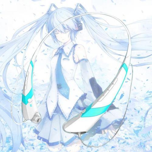 Anime Snow Hatsune Miku Neckband Wireless Stereo Bluetooth Earphones