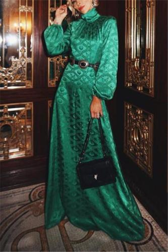 Flash Sale Autumn and winter fashion printing long-sleeved maxi dress Evening Dress