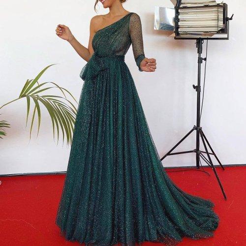 One-Shoulder Asymmetric Evening Dress